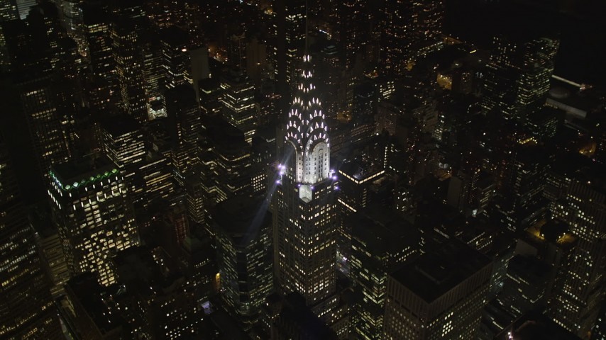 4K stock footage aerial video Orbiting the Chrysler Building, Midtown Manhattan, New York, New York, night Aerial Stock Footage | AX85_070