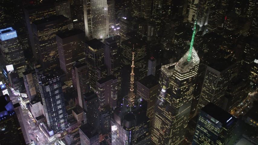 4K stock footage aerial video Bank of America Tower, Midtown Manhattan, New York, New York, night Aerial Stock Footage | AX85_077