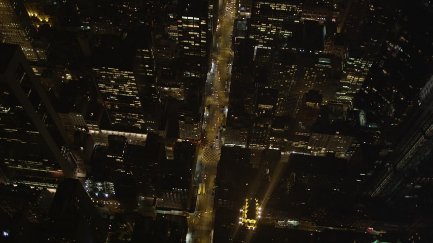 4K stock footage aerial video Bird's eye view flying over Avenue of the Americas, New York, New York, night Aerial Stock Footage | AX85_082