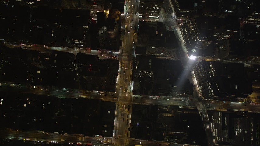 4K stock footage aerial video Bryant Park, Avenue of the Americas, Midtown Manhattan, New York, night  Aerial Stock Footage | AX85_086