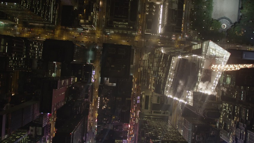 4K stock footage aerial video Bird's eye view over streets, Midtown Manhattan, New York, New York, night Aerial Stock Footage   AX85_096