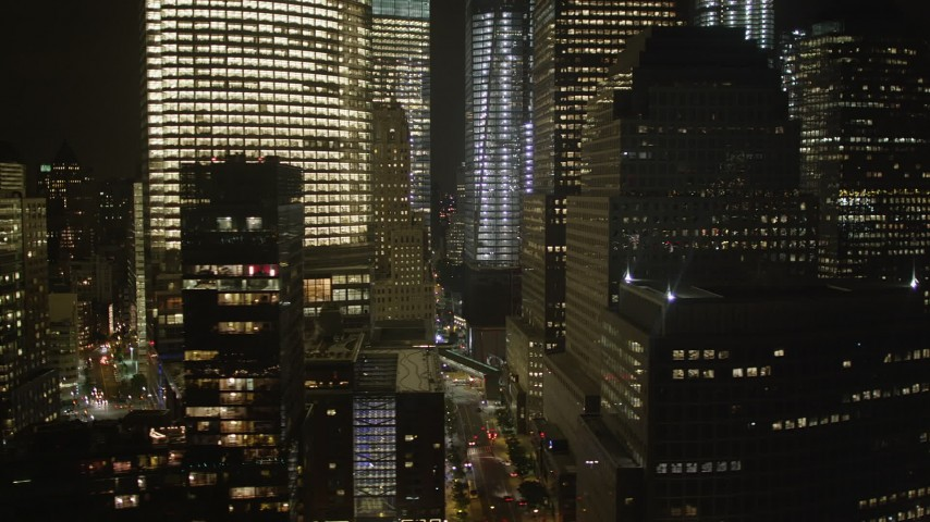 4K stock footage aerial video Fly by World Trade Center, Lower Manhattan, New York, New York, night Aerial Stock Footage | AX85_121