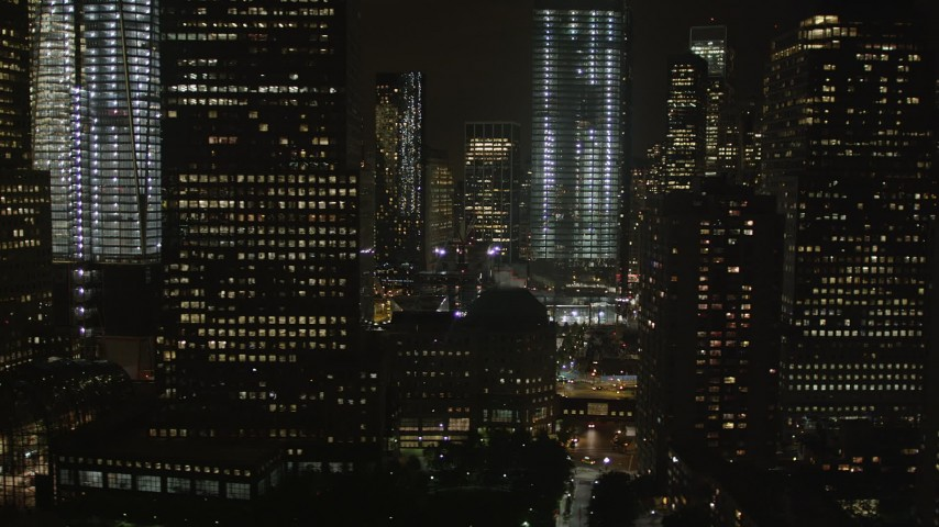 4K stock footage aerial video Flying by the World Trade Center, Lower Manhattan, New York, New York, night Aerial Stock Footage | AX85_122