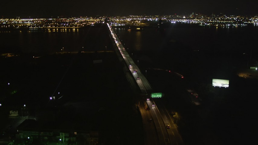 4K stock footage aerial video Flying over Newark Bay Bridge, Newark, New Jersey, night Aerial Stock Footage | AX85_140