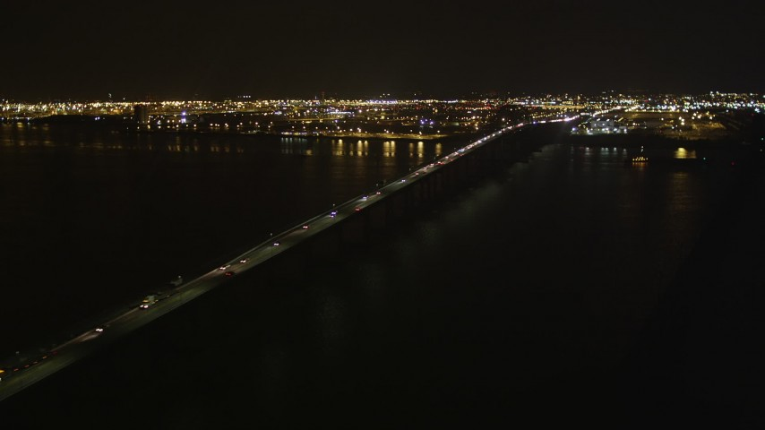 4K stock footage aerial video Flying by the Newark Bay Bridge, Newark, New Jersey, night Aerial Stock Footage | AX85_141
