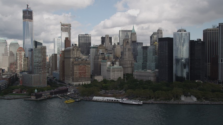 4K stock footage aerial video Approaching Lower Manhattan skyscrapers, Battery Park, New York, New York Aerial Stock Footage | AX87_016