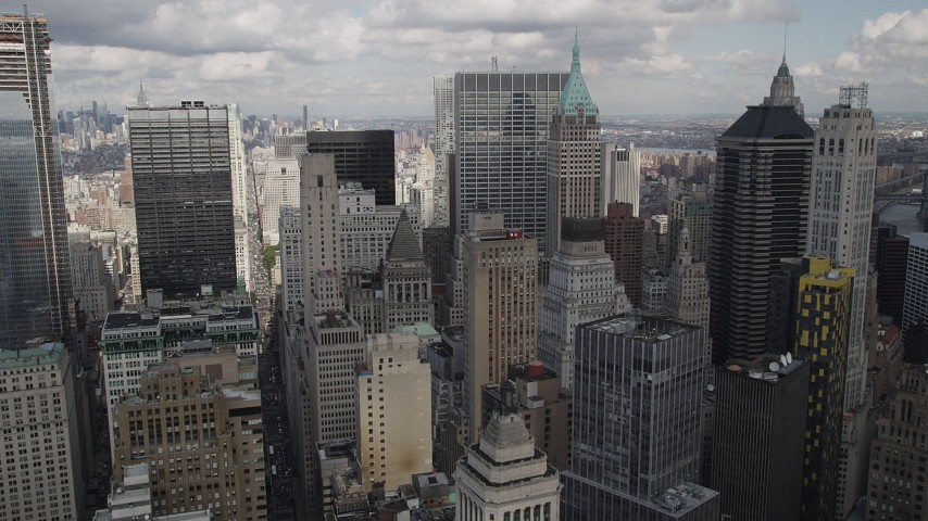 4K stock footage aerial video Flying over Lower Manhattan skyscrapers, New York, New York Aerial Stock Footage | AX87_017
