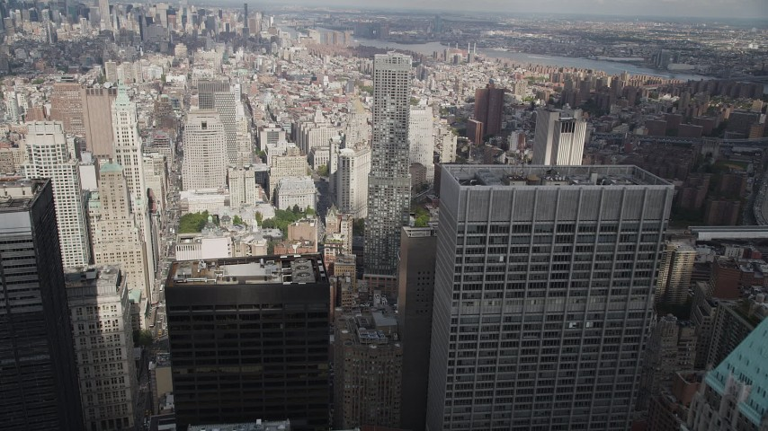 4K stock footage aerial video Fly over Lower Manhattan, toward 8 Spruce Street, New York, New York Aerial Stock Footage | AX87_018