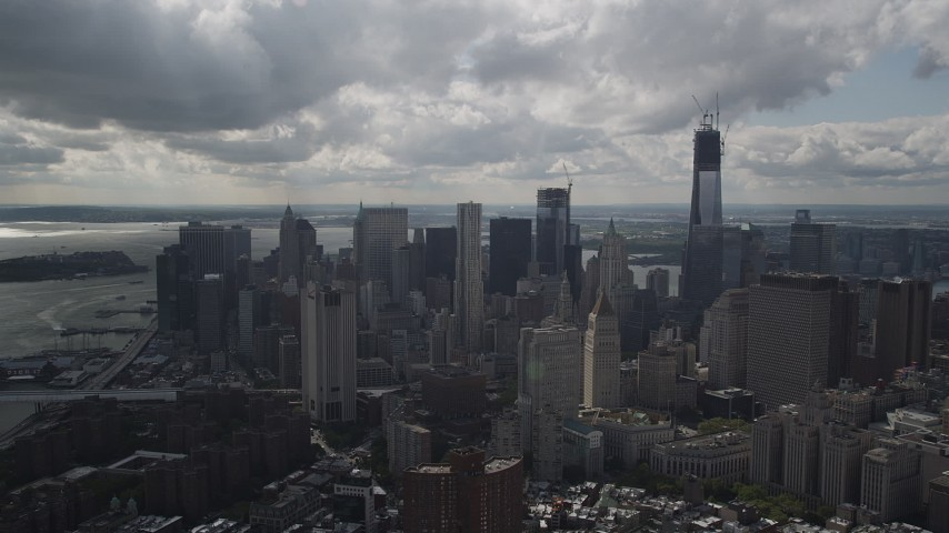 Flying away from Lower Manhattan, New York, New York Aerial Stock Footage | AX87_022