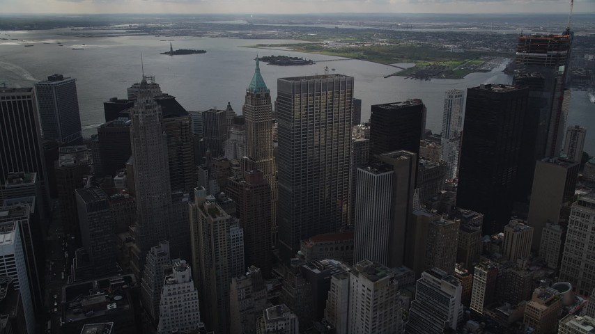 4K stock footage aerial video Lower Manhattan, One Chase Manhattan Plaza, 40 Wall Street, New York, New York Aerial Stock Footage | AX87_026