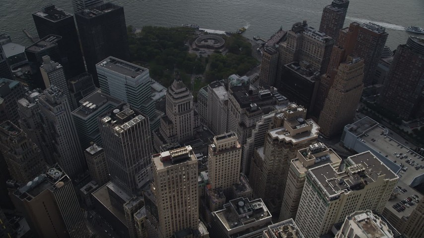 Flying over Battery Park, Lower Manhattan, New York, New York Aerial Stock Footage | AX87_028