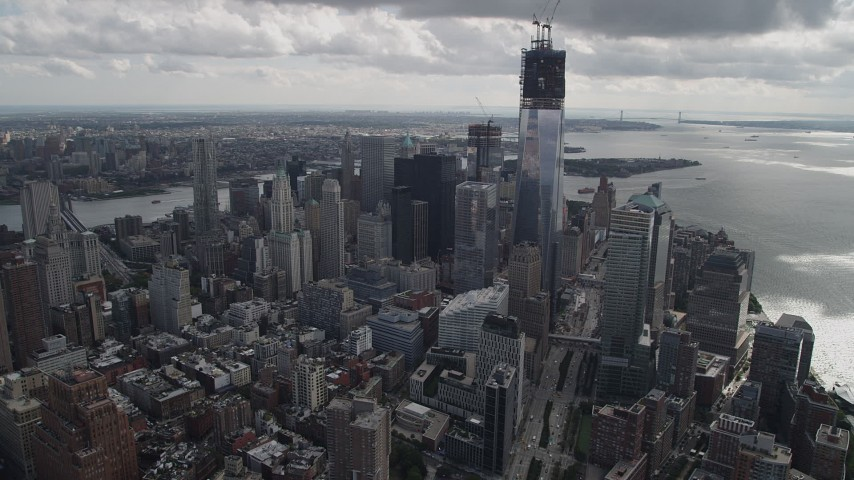 4K stock footage aerial video Tilt to reveal One World Trade Center, Lower Manhattan, New York, New York Aerial Stock Footage | AX87_033