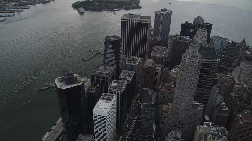 4K stock footage aerial video Flying by Lower Manhattan skyscrapers, New York, New York Aerial Stock Footage | AX87_038