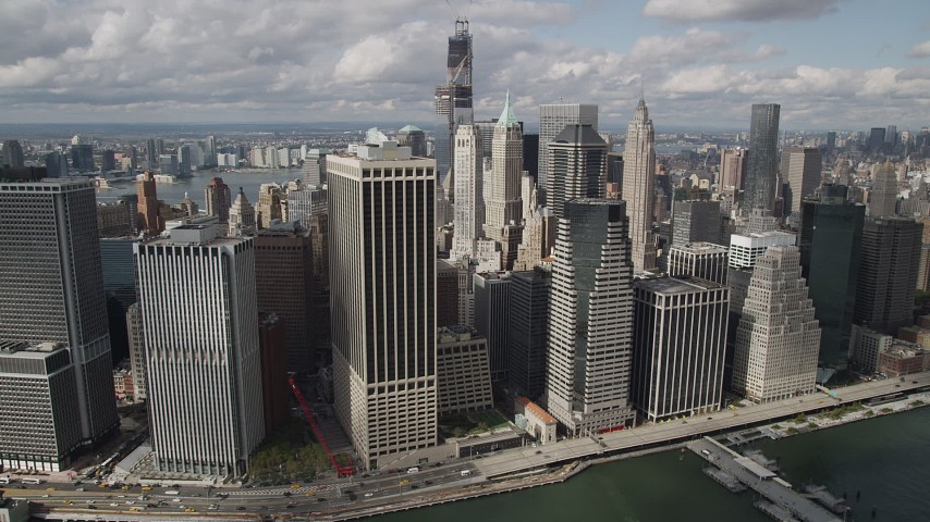 4K stock footage aerial video Approaching Lower Manhattan skyscrapers, New York, New York Aerial Stock Footage | AX87_048