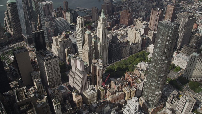 4K stock footage aerial video Flying over Lower Manhattan skyscrapers toward Tribeca, New York, New York Aerial Stock Footage | AX87_050