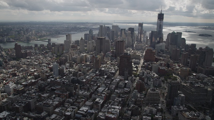 4K stock footage aerial video Flying away from Lower Manhattan, New York, New York Aerial Stock Footage | AX87_053