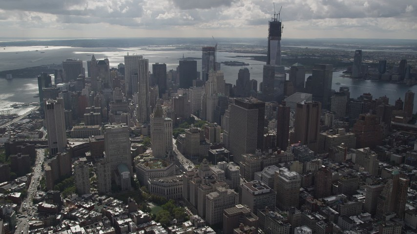 4K stock footage aerial video Flying over buildings, revealing Lower Manhattan, New York, New York Aerial Stock Footage | AX87_055