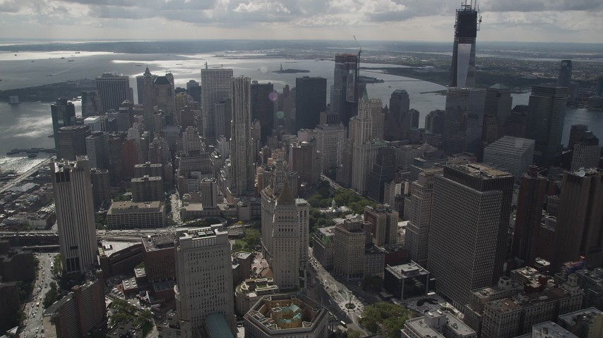 4K stock footage aerial video Flying over Lower Manhattan, approaching 8 Spruce Street, New York, New York Aerial Stock Footage | AX87_056