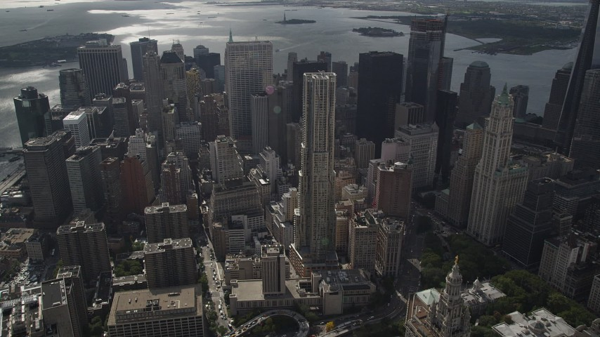 4K stock footage aerial video Flying by 8 Spruce Street, Lower Manhattan, New York, New York Aerial Stock Footage | AX87_057
