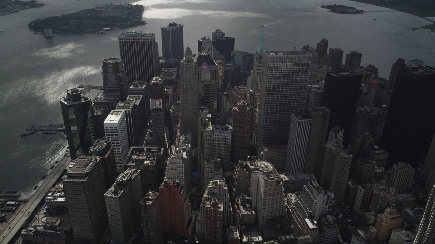 4K stock footage aerial video Flying over Lower Manhattan, approaching 70 Pine Street, New York, New York Aerial Stock Footage | AX87_058