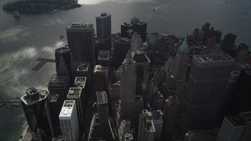 4K stock footage aerial video Fly over Lower Manhattan, approach skyscrapers, East River, New York, New York Aerial Stock Footage | AX87_059