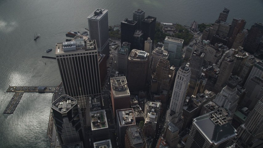 5k aerial video Flying over skyscrapers in Lower Manhattan, New York, New York Aerial Stock Footage | AX87_060