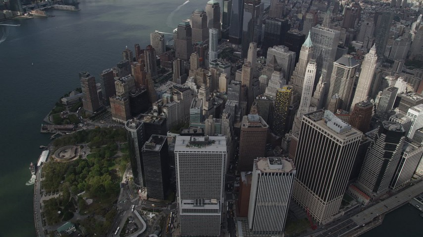 4K stock footage aerial video Flying away from Lower Manhattan, New York, New York Aerial Stock Footage | AX87_062