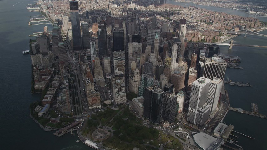 4K stock footage aerial video Flying by Lower Manhattan, at a high altitude, New York, New York Aerial Stock Footage | AX87_065