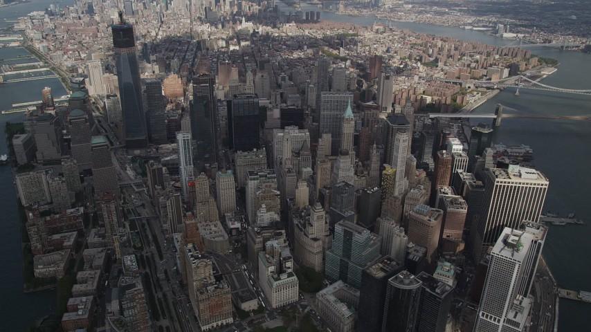 Panning across Lower Manhattan, high altitude, New York, New York Aerial Stock Footage | AX87_066
