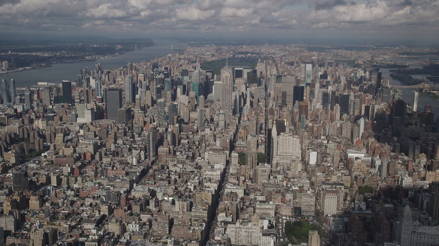 4K stock footage aerial video Approaching Midtown Manhattan from Greenwich Village, New York, New York Aerial Stock Footage | AX87_073