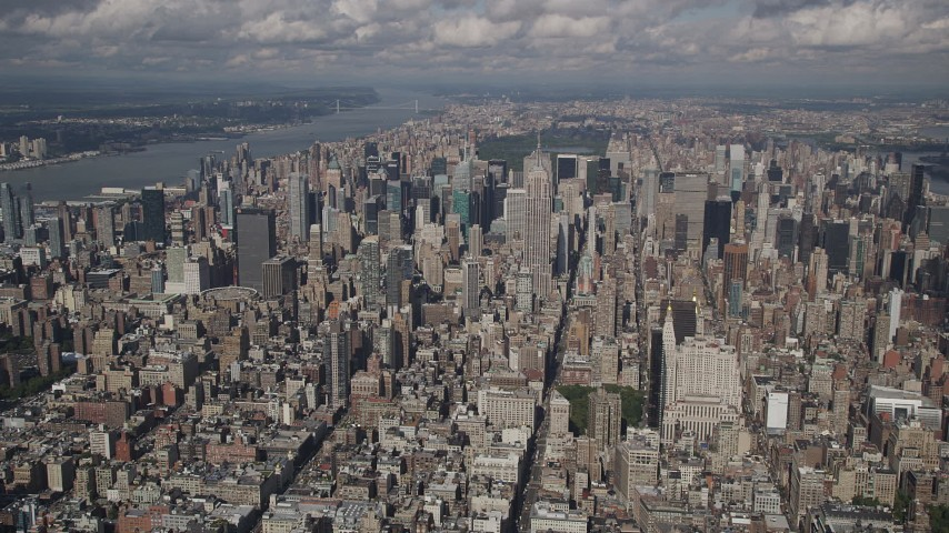 4K aerial video Approaching Empire State Building, Midtown Manhattan, New York, New York Aerial Stock Footage | AX87_074