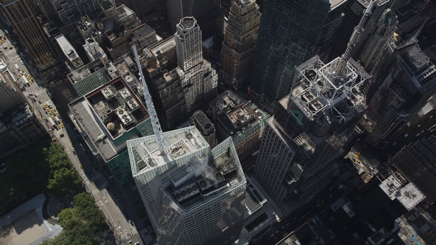 5k aerial video Bird's eye view, Bank of America Tower, Midtown Manhattan, New York, New York Aerial Stock Footage | AX87_086