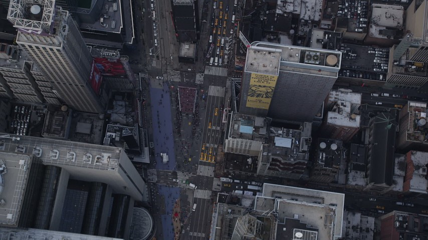 4K stock footage aerial video Bird's eye view flying over Times Square, Midtown Manhattan, New York, New York Aerial Stock Footage | AX87_116