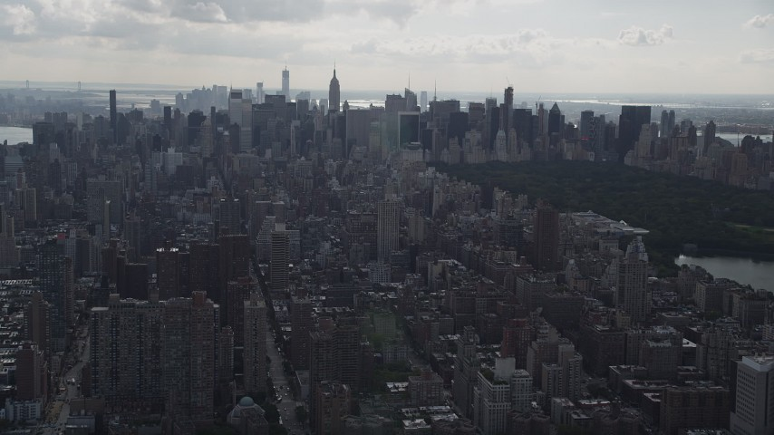 4K stock footage aerial video Flying by Upper East Side, Midtown Manhattan, New York, New York Aerial Stock Footage   AX87_134