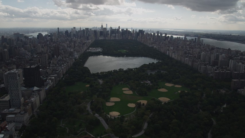 4K stock footage aerial video Flying by Central Park, seen while flying west, New York, New York Aerial Stock Footage | AX87_137