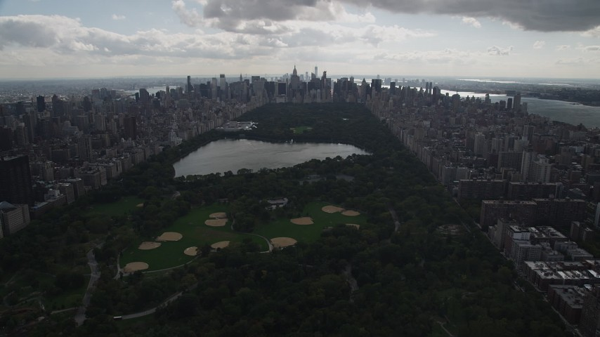 4K stock footage aerial video Flying by Central Park, flying west toward Upper West Side, New York, New York Aerial Stock Footage | AX87_138
