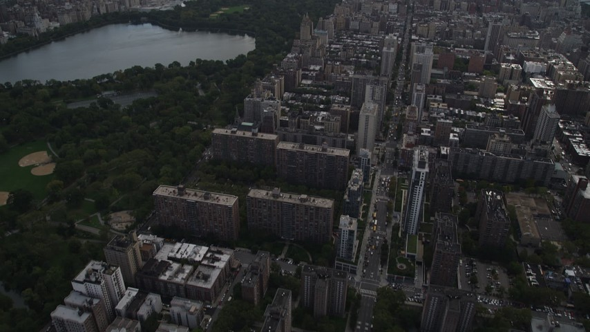 4K aerial video Tilting from Upper West Side, Midtown Manhattan, Central Park, New York Aerial Stock Footage | AX87_140