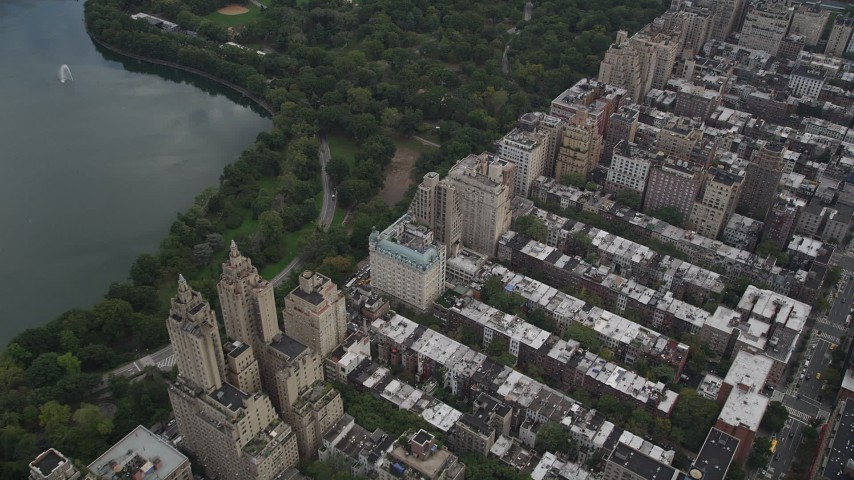 4K stock footage aerial video Flying by Upper West Side buildings, New York, New York Aerial Stock Footage | AX87_144