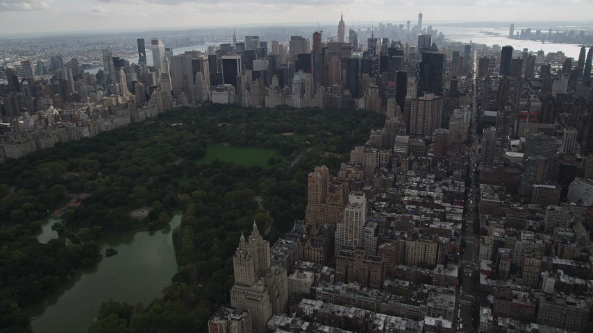 4K aerial video Approaching Midtown Manhattan skyscrapers, Upper West Side, New York Aerial Stock Footage | AX87_146