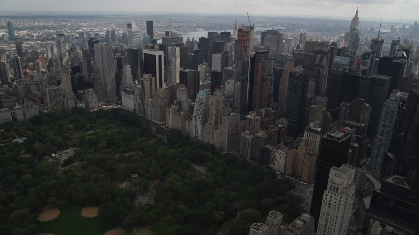 4K stock footage aerial video Approaching Midtown Manhattan skyscrapers, New York, New York Aerial Stock Footage | AX87_149