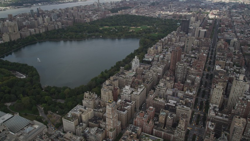 4K stock footage aerial video Flying over Upper East Side, Central Park, New York, New York Aerial Stock Footage | AX87_155