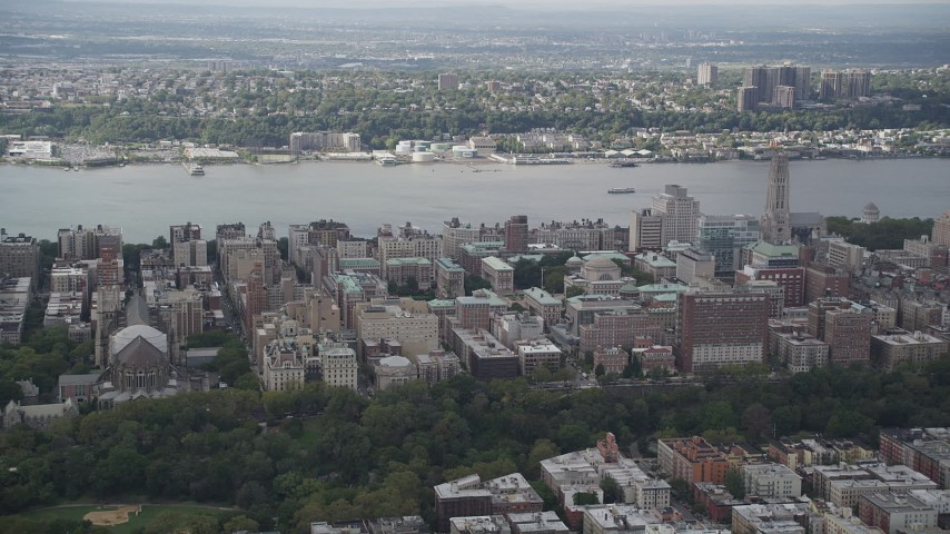 4K aerial video Flying over Columbia University, views of Hudson River, New York, New York Aerial Stock Footage | AX87_158