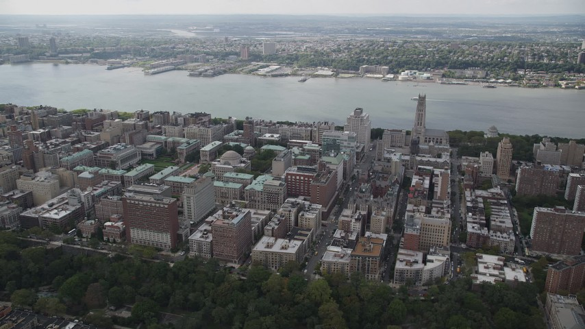 5k aerial video Flying by Columbia University, Morningside Heights, Hudson River, New York Aerial Stock Footage | AX87_160