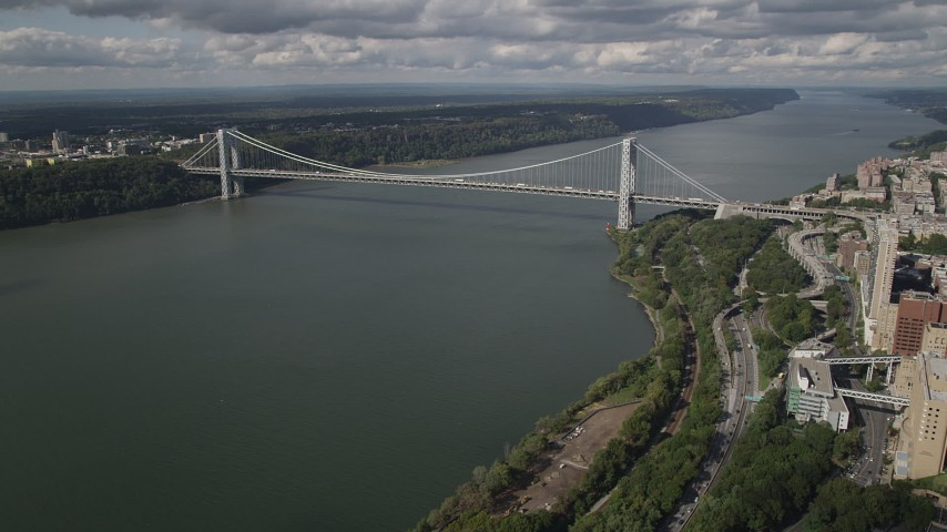 4K stock footage aerial video Henry Hudson Parkway, George Washington Bridge, Hudson River, New York Aerial Stock Footage | AX87_161