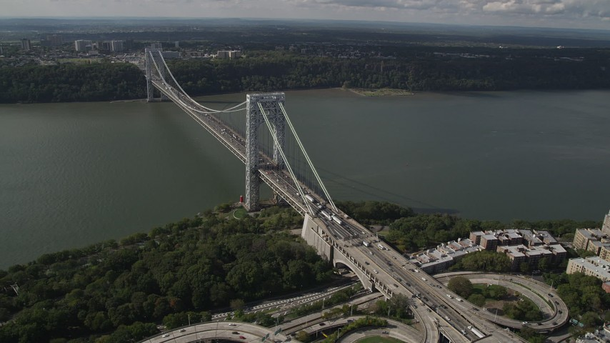 4K stock footage aerial video Flying by the George Washington Bridge, Hudson River, New York, New York Aerial Stock Footage | AX87_163