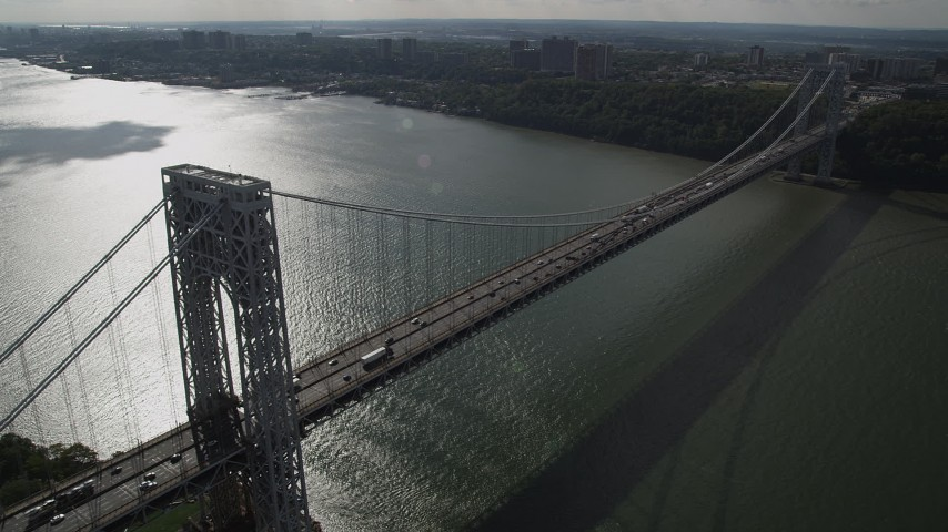 4K stock footage aerial video Flying by the George Washington Bridge, Hudson River, New York, New York Aerial Stock Footage | AX87_165