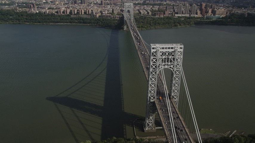 4K stock footage aerial video Flying by George Washington Bridge, Hudson River, New Jersey, New York Aerial Stock Footage | AX87_169