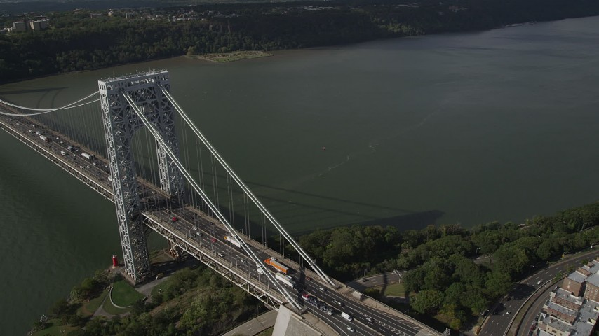 4K stock footage aerial video Flying by George Washington Bridge, Hudson River, New York, New York Aerial Stock Footage | AX87_173