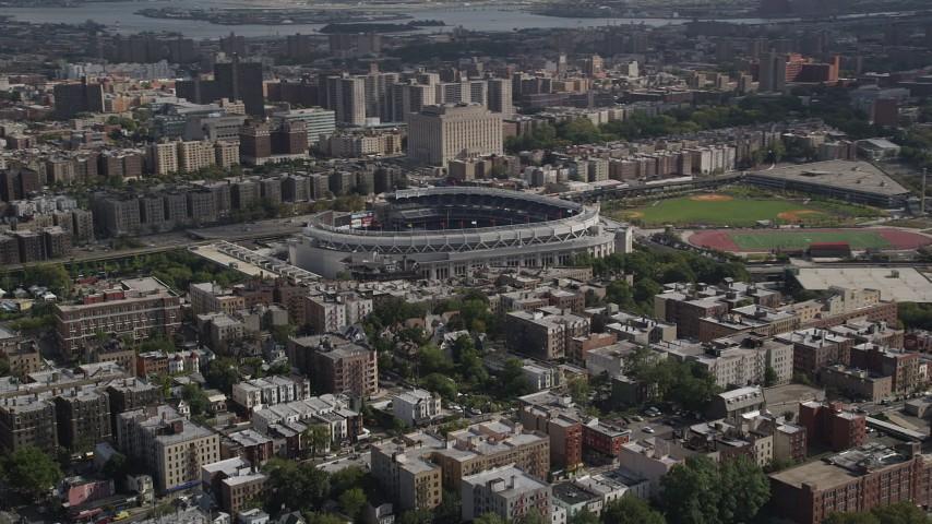 4K stock footage aerial video Flying by Yankee Stadium, Bronx, New York Aerial Stock Footage | AX87_176