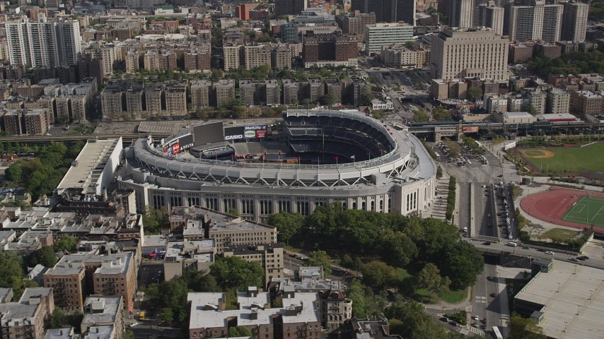4K stock footage aerial video Flying by Yankee Stadium, Bronx, New York Aerial Stock Footage | AX87_177